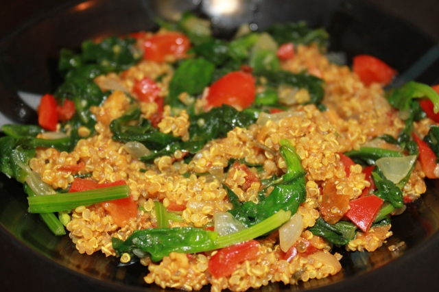 Quinoa with Spinach, Peppers and Onions