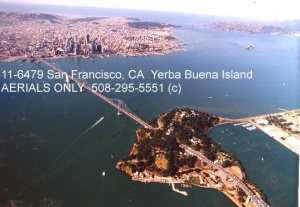 Forefront: Yerba Buena Island (YBI), to the right attached to it is Treasure Island. In the far left at top is San Francisco. To the far right at the top is the Golden Gate Bridge and the small island in the middle of the water is Alcatraz.